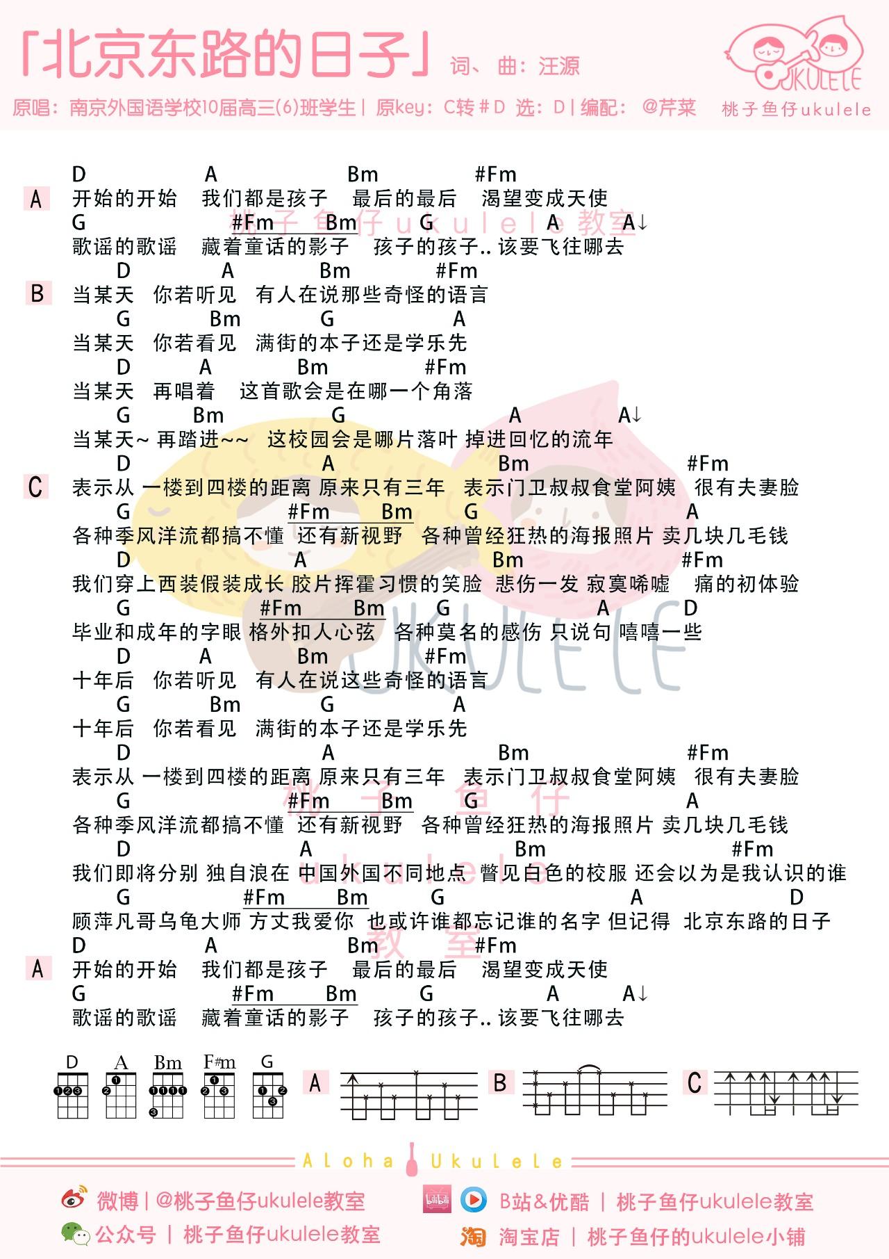 《北京东路的日子》尤克里里谱