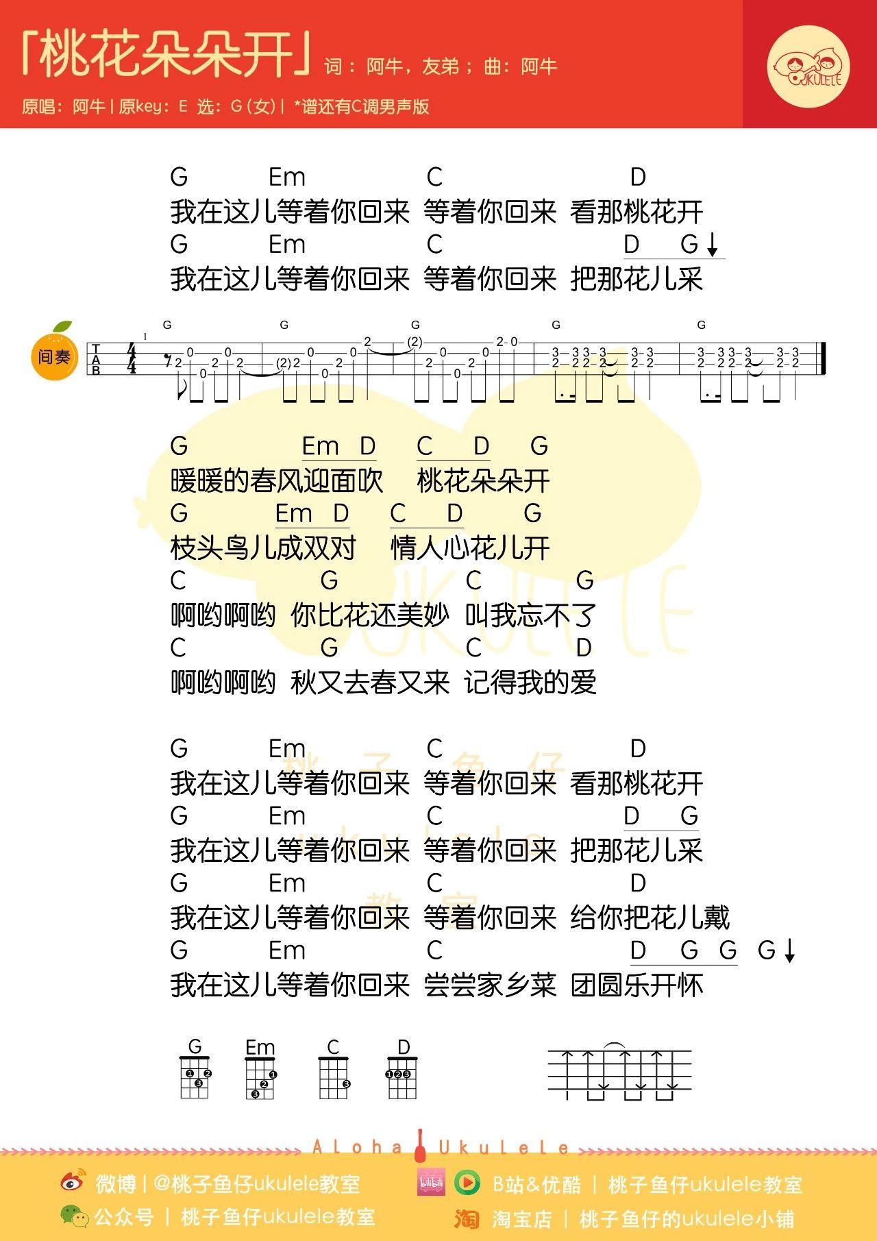 桃花朵朵开尤克里里谱-1