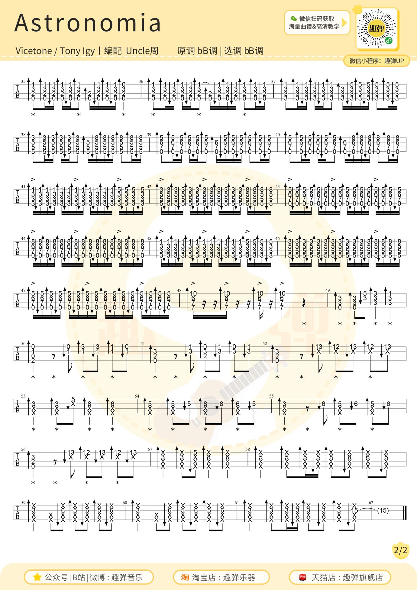 趣弹音乐《Astronomia》尤克里里指弹谱-2