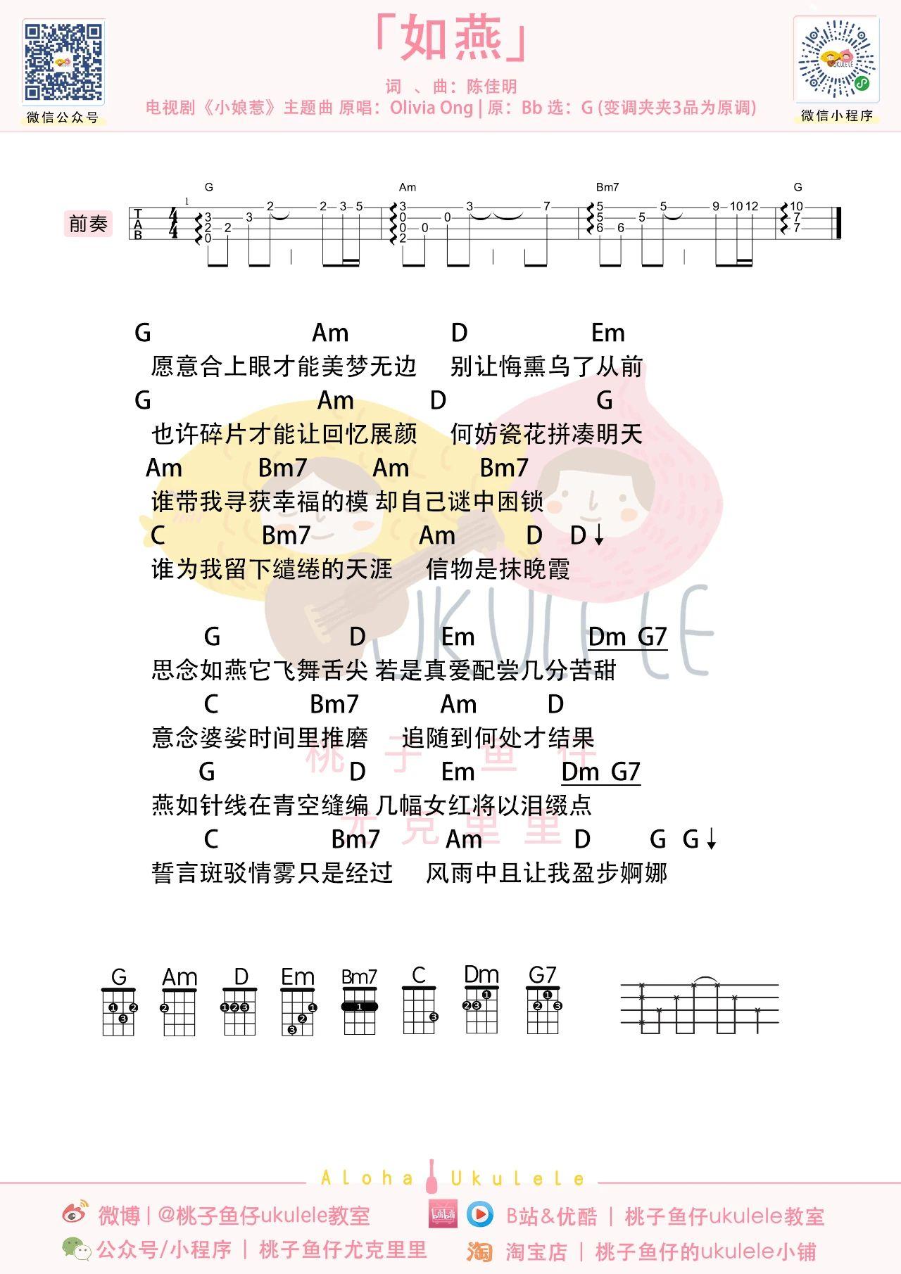 尤克里里吧《如燕》尤克里里谱-1