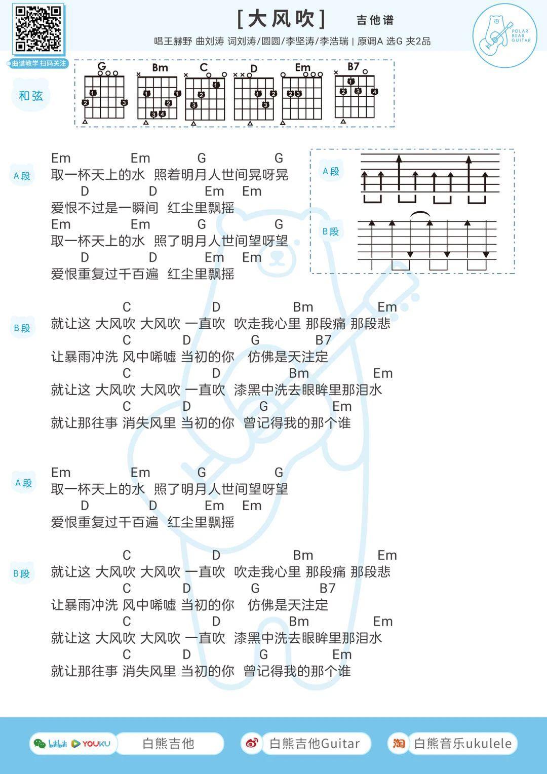 王赫野《大风吹》尤克里里谱2